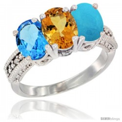 14K White Gold Natural Swiss Blue Topaz, Citrine & Turquoise Ring 3-Stone 7x5 mm Oval Diamond Accent
