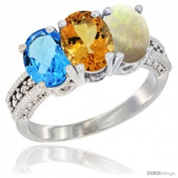 14K White Gold Natural Swiss Blue Topaz, Citrine & Opal Ring 3-Stone 7x5 mm Oval Diamond Accent