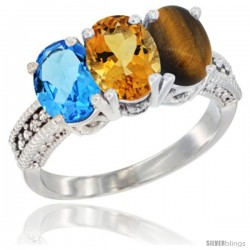 14K White Gold Natural Swiss Blue Topaz, Citrine & Tiger Eye Ring 3-Stone 7x5 mm Oval Diamond Accent