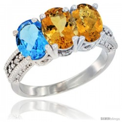 14K White Gold Natural Swiss Blue Topaz, Citrine & Whisky Quartz Ring 3-Stone 7x5 mm Oval Diamond Accent