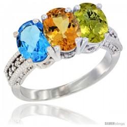 14K White Gold Natural Swiss Blue Topaz, Citrine & Lemon Quartz Ring 3-Stone 7x5 mm Oval Diamond Accent
