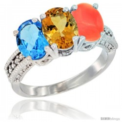14K White Gold Natural Swiss Blue Topaz, Citrine & Coral Ring 3-Stone 7x5 mm Oval Diamond Accent