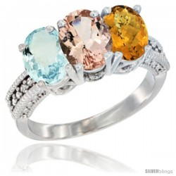 14K White Gold Natural Aquamarine, Morganite & Whisky Quartz Ring 3-Stone Oval 7x5 mm Diamond Accent