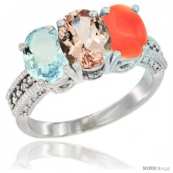 14K White Gold Natural Aquamarine, Morganite & Coral Ring 3-Stone Oval 7x5 mm Diamond Accent
