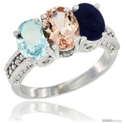 14K White Gold Natural Aquamarine, Morganite & Lapis Ring 3-Stone Oval 7x5 mm Diamond Accent