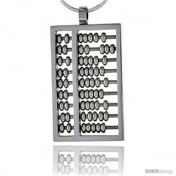 Stainless Steel Abacus Charm Pendant 1 3/16 in tall, w/ 30 in Chain