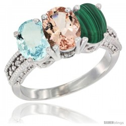 14K White Gold Natural Aquamarine, Morganite & Malachite Ring 3-Stone Oval 7x5 mm Diamond Accent