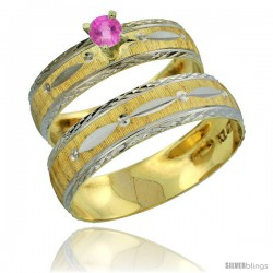 10k Gold 2-Piece 0.25 Carat Pink Sapphire Ring Set (Engagement Ring & Man's Wedding Band) Diamond-cut Pattern -Style 10y502em