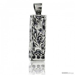Sterling Silver Mezuzah Pendant w/ Floral Pattern Cut Outs, 15/16 in. (23 mm) tall