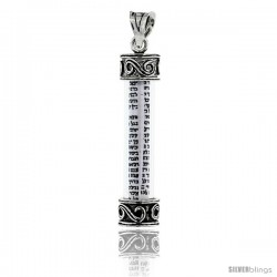 Sterling Silver Mezuzah Pendant w/ S Scroll Pattern in Glass Case, 1 5/16 in. (33 mm) tall