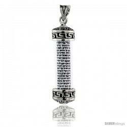 Sterling Silver Mezuzah Pendant w/ Greek Key Design in Glass Case, 1 7/16 in. (36 mm) tall