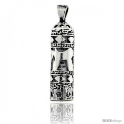 Sterling Silver Mezuzah Pendant w/ Chai Cut Outs, 1 in. (25 mm) tall