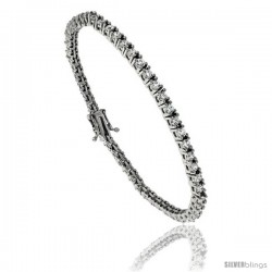 Sterling Silver CZ Tennis Bracelet 2 ct. size 2 mm stones Rhodium finished, 7.5 in