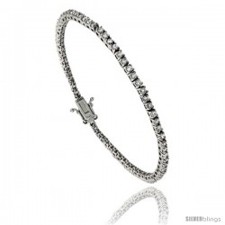 Sterling Silver CZ Tennis Bracelet 2.65 ct. size 2.5 mm stones Rhodium finished, 7.5 in