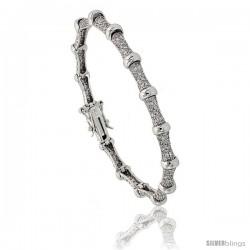 Sterling Silver Bead Station CZ Bracelet, 7 in., 1/4 in. (6 mm) wide