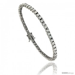 Sterling Silver CZ Tennis Bracelet 5.80 ct. size 3 mm stones Rhodium finished, 7.5 in