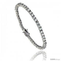 Sterling Silver CZ Tennis Bracelet 8.3 ct. size 3.5 mm stones Rhodium finished, 7.5 in