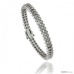 "Sterling Silver 3.00 ct. size 2-Row Brilliant Cut CZ Tennis Bracelet, 7 in., 1/4"" (6.5 mm) wide"