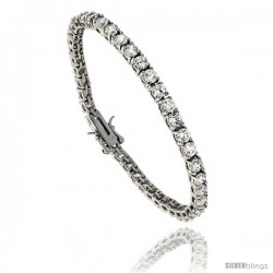 Sterling Silver CZ Tennis Bracelet 10.5 ct. size 4 mm stones Rhodium finished, 7.5 in