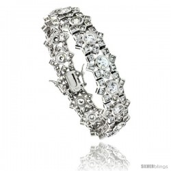"Sterling Silver 16 ct. size Brilliant & Princess Cut CZ Tennis Bracelet, 6.75 in., 9/16"" (14.5 mm) wide"