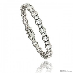 "Sterling Silver 28.50 ct. size Oval Cut CZ Tennis Bracelet, 7 in., 9/32"" (7 mm) wide"