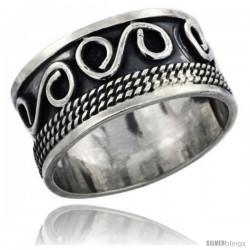 Sterling Silver S-Scroll Wedding Band Ring w/ Rope Design, 1/2 in wide
