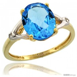 14k Yellow Gold Diamond Swiss Blue Topaz Ring 2.4 ct Oval Stone 10x8 mm, 3/8 in wide