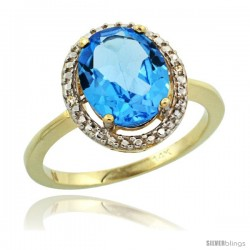 14k Yellow Gold Diamond Swiss Blue Topaz Ring 2.4 ct Oval Stone 10x8 mm, 1/2 in wide -Style Cy404114
