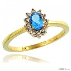 14k Yellow Gold Diamond Halo Swiss Blue Topaz Ring 0.25 ct Oval Stone 5x3 mm, 5/16 in wide