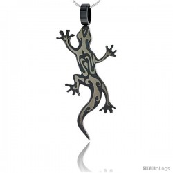 Stainless Steel Tribal Gecko Pendant 2-tone Blackened 2 in (50 mm) tall, w/ 30 in Chain