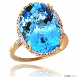 14k Yellow Gold Diamond Halo Large Swiss Blue Topaz Ring 10.3 ct Oval Stone 18x13 mm, 3/4 in wide