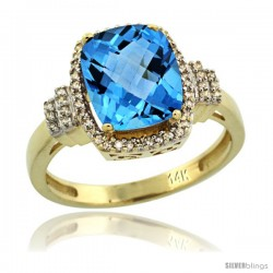 14k Yellow Gold Diamond Halo Swiss Blue Topaz Ring 2.4 ct Cushion Cut 9x7 mm, 1/2 in wide