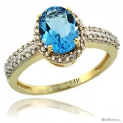 14k Yellow Gold Diamond Halo Swiss Blue Topaz Ring 1.2 ct Oval Stone 8x6 mm, 3/8 in wide