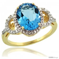 14k Yellow Gold Diamond Halo Swiss Blue Topaz Ring 2.4 ct Oval Stone 10x8 mm, 1/2 in wide