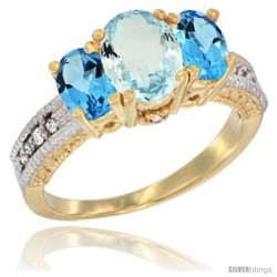 14k Yellow Gold Ladies Oval Natural Aquamarine 3-Stone Ring with Swiss Blue Topaz Sides Diamond Accent