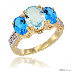 14K Yellow Gold Ladies 3-Stone Oval Natural Aquamarine Ring with Swiss Blue Topaz Sides Diamond Accent