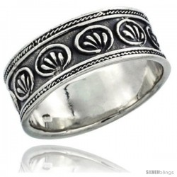 Sterling Silver Floral Pattern Wedding Band Ring w/ Rope Edge Design, 5/16 in wide