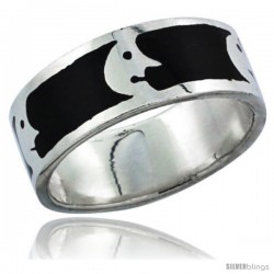 Sterling Silver Moon Man Wedding Band Ring on black enamel background, 5/16 in wide