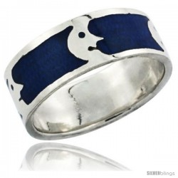 Sterling Silver Moon Man Wedding Band Ring on blue enamel background, 5/16 in wide