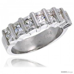 Sterling Silver 1.75 Carat Size Princess Cut Cubic Zirconia Bridal Ring, 1/4 in (6 mm) wide