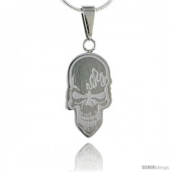 Stainless Steel Skull Pendant, 3/4 in tall, w/ 30 in Chain
