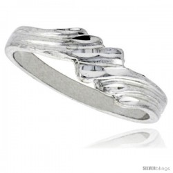 Sterling Silver Freeform Ring Polished finish 3/16 in wide -Style Ffr597