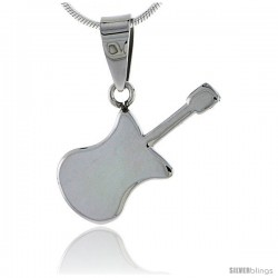 Stainless Steel Guitar Pendant, 1 in tall, w/ 30 in Chain