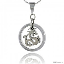 Stainless Steel Dragon Pendant, 3/4 in tall, w/ 30 in Chain