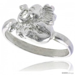 Sterling Silver Elephant Ring Polished finish 7/16 in wide -Style Ffr602
