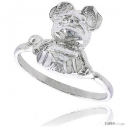 Sterling Silver Teddy Bear Ring Polished finish 9/16 in wide