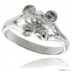 Sterling Silver Teddy Bear Head Ring Polished finish 3/8 in wide