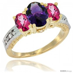 10K Yellow Gold Ladies Oval Natural Amethyst 3-Stone Ring with Pink Topaz Sides Diamond Accent