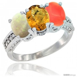 10K White Gold Natural Opal, Whisky Quartz & Coral Ring 3-Stone Oval 7x5 mm Diamond Accent