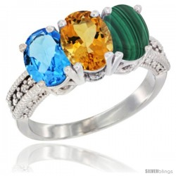 14K White Gold Natural Swiss Blue Topaz, Citrine & Malachite Ring 3-Stone 7x5 mm Oval Diamond Accent
